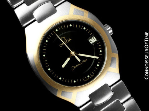 1992 Omega Polaris Seamaster Mens Divers Watch, Quick Setting Date - Stainless Steel & 18K Gold