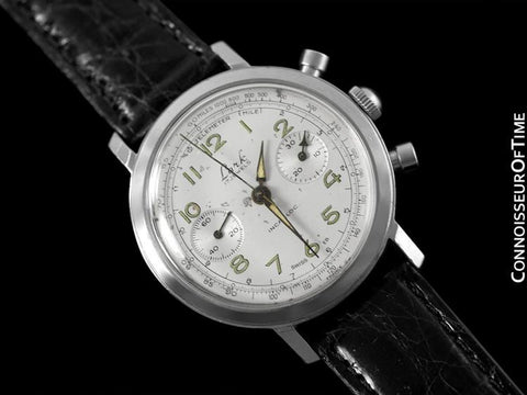 1960's Vintage Oversized 38.5mm Professional & Sporting Mens Chronograph Watch - Stainless Steel