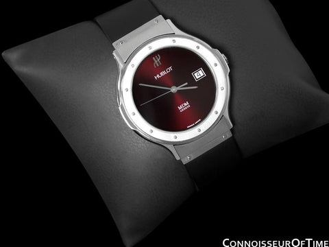 Hublot MDM Full Size Mens Red Wine Dial Watch with Date - Stainless Steel
