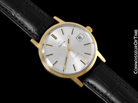 1974 Omega Geneve Vintage Mens Watch, Quick-Setting Date - 18K Gold Plated & Stainless Steel