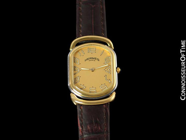 Hermes Mens Midsize Rallye Bracelet Watch - 18K Gold Plated & Stainless Steel