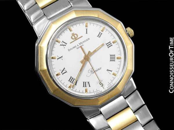 Baume & Mercier Mens Riviera Two-Tone Watch - Stainless Steel and Solid 18K Gold