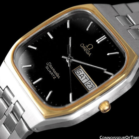 1984 Omega Seamaster Classic Retro Vintage Mens Quartz Watch, Day Date - Stainless Steel & 18K Gold Plated