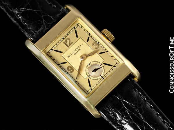 1935 Patek Philippe Vintage Mens Rectangular Watch - 18K Gold