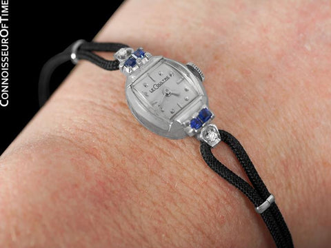 1956 Jaeger-LeCoultre Vintage Ladies Watch - 14K White Gold, Diamonds & Sapphires