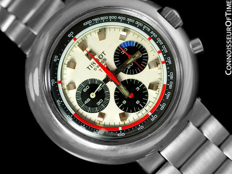 1970's Tissot T12 Classic Mens Large Retro Divers Chronograph - Stainless Steel
