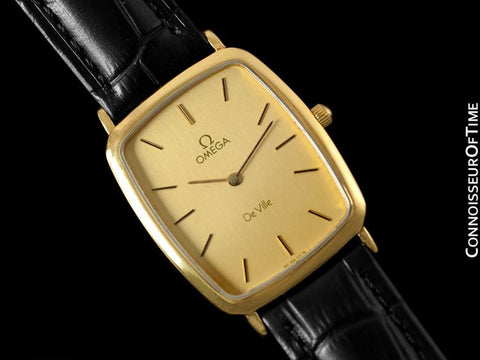 1980's Omega De Ville Vintage Mens Ultra Thin Dress Watch - 18K Gold Plated and Stainless Steel