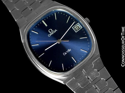 "1981 Omega ""De Ville"" Classic Retro Mens Quartz Watch, Quick-Setting Hour, Date - Stainless Steel"