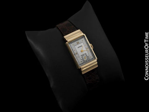 1945 Jaeger-LeCoultre Vintage Mens Rectangular Watch, Art Deco Hooded Lugs - 14K Gold
