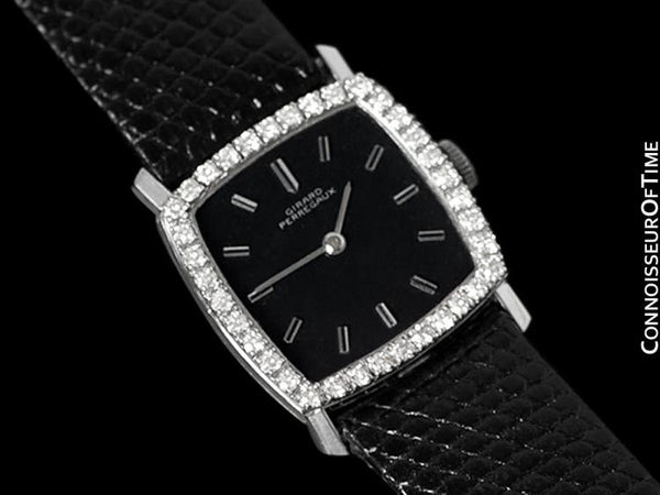 1960's Girard Perregaux Vintage Ladies Unisex Dress Watch - 14K White Gold & Diamonds