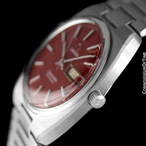 1978 Omega Seamaster Vintage Mens Watch, Automatic, Day Date, Wine Color Dial - Stainless Steel