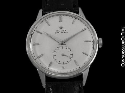 1950 Rolex Precision Large Vintage Mens Handwound Dress Watch - Stainless Steel