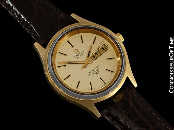 1970's Omega Seamaster Cosmic 2000 Vintage Mens Dive Watch, Day Date - 18K Gold Plated & Stainless Steel