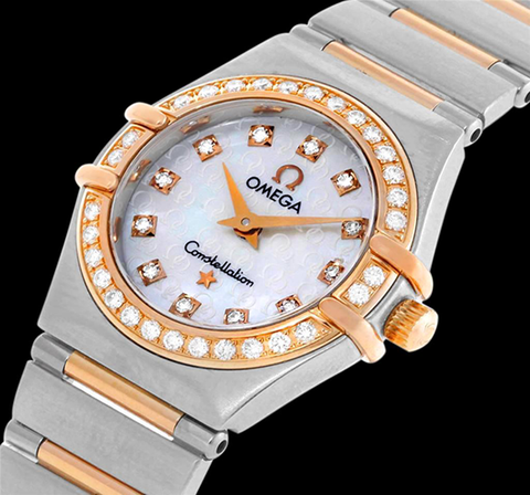 Omega Ladies Constellation 95 My Choice Mini Watch - Stainless Steel, 18K Rose Gold & Diamonds