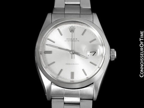 1971 Rolex Vintage Mens Oysterdate Date Watch, Silver Dial - Stainless Steel
