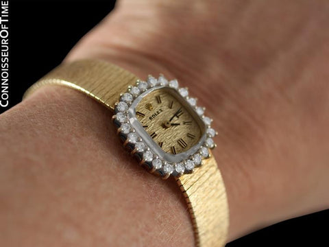 1990 Rolex Ladies Dress Bracelet Watch - 14K Gold & Diamonds