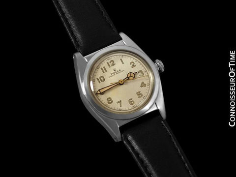 1941 Rolex Vintage Mens WWII Era Bubble Bubbleback, Ref. 2940, Stainless Steel - Very Fine & Rare