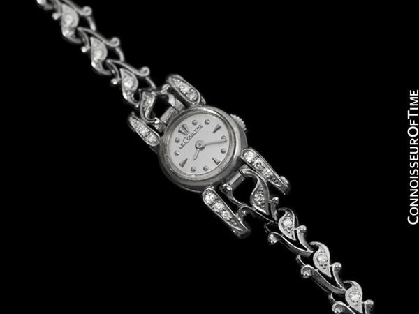 1950's Jaeger-LeCoultre Vintage Ladies Backwind Cocktail Watch - 14K White Gold & Diamonds