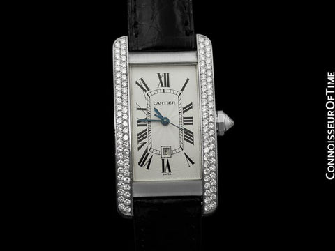 Cartier Tank Americaine Midsize Automatic Watch, Ref. 1726 - 18K White Gold & Factory Diamonds
