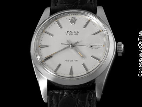 1964 Rolex Vintage Mens Oysterdate Date Watch, Silver Dial - Stainless Steel