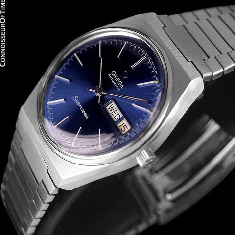 c. 1979 Omega Seamaster Vintage Mens Bracelet Watch, Automatic, Day Date - Stainless Steel