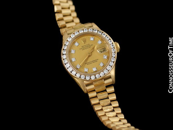 Rolex President Datejust Ladies Bark Finish Champagne Dial Watch, Ref. 69278 - 18K Gold & Diamonds