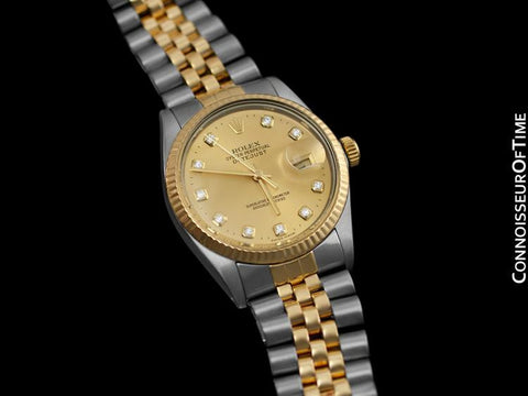 Rolex Datejust Mens 2-Tone Quick Set Watch - Champagne Diamond Dial - Stainless Steel & 18K Gold