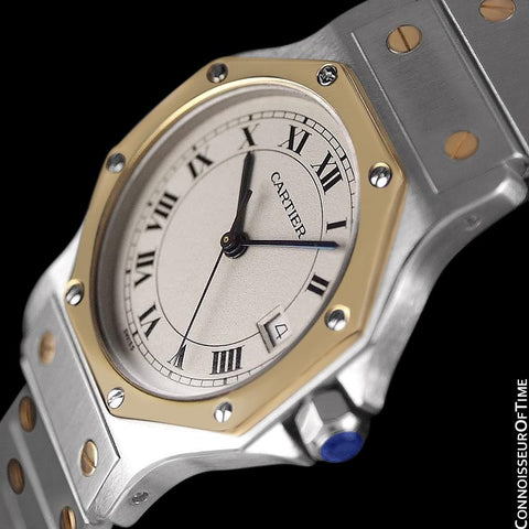Cartier Santos Octagon Mens Midsize Unisex Quartz Watch with Papers - Stainless Steel & 18K Gold