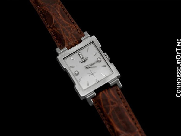1955 Longines Vintage Mens Dress Watch - 14K White Gold & Diamonds
