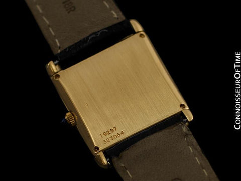 Piaget Mens Rectangular Stepped Case Quartz Watch - 18K Gold