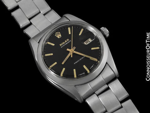 1965 Rolex Vintage Mens Oysterdate Date Watch, Black Dial - Stainless Steel