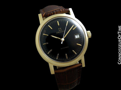 1960's Zenith Vintage Mens Waterproof Style Full Size Automatic Watch - 18K Gold Plated & Stainless Steel