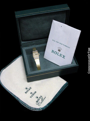1980's Rolex Vintage Ladies Dress 14K Gold & Diamond Watch - Box & Papers