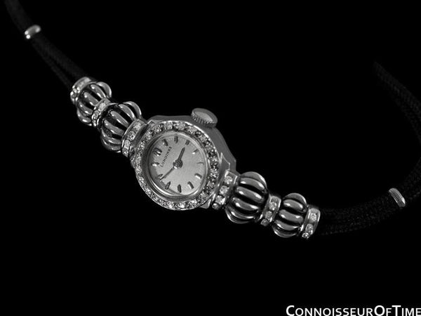 1952 Longines Vintage Ladies Dress Watch - 14K White Gold & Diamonds