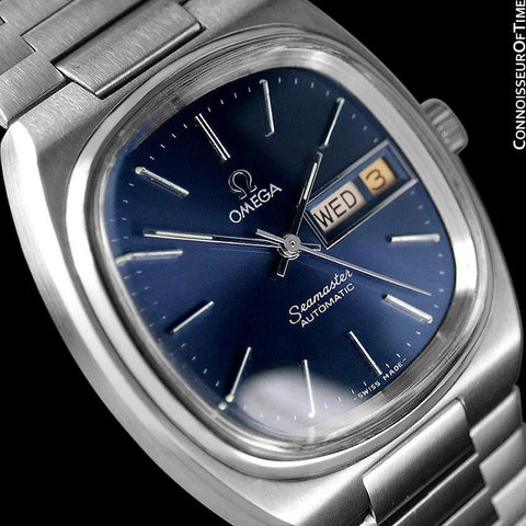 1980 Omega Seamaster Vintage Mens TV Watch, Automatic, Day Date - Stainless Steel