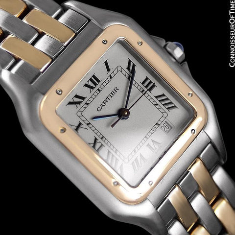 Cartier Panthere Two-Tone Mens Midsize / Unisex Watch, Date - Stainless Steel & 18K Gold - W25028B6