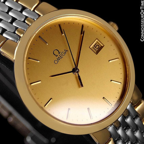 Omega DeVille Mens Midsize Dress Watch - 18K Gold Plated & Stainless Steel