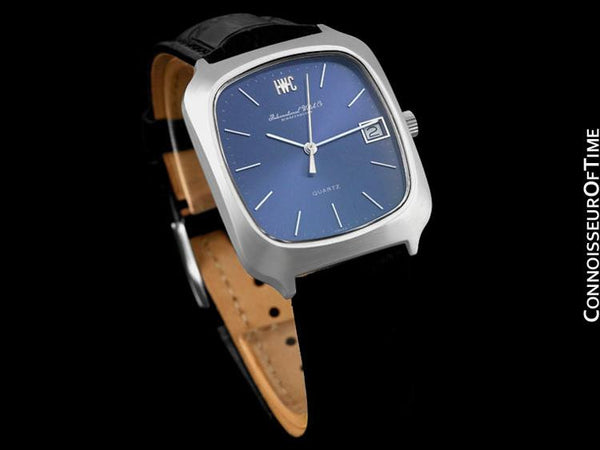 1978 IWC Vintage Mens Full Size Quartz Watch, Blue Dial with Date - Stainless Steel