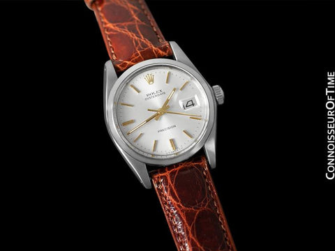 1977 Rolex Vintage Mens Oysterdate Date Watch, Silver Dial with 18K Gold Accents - Stainless Steel