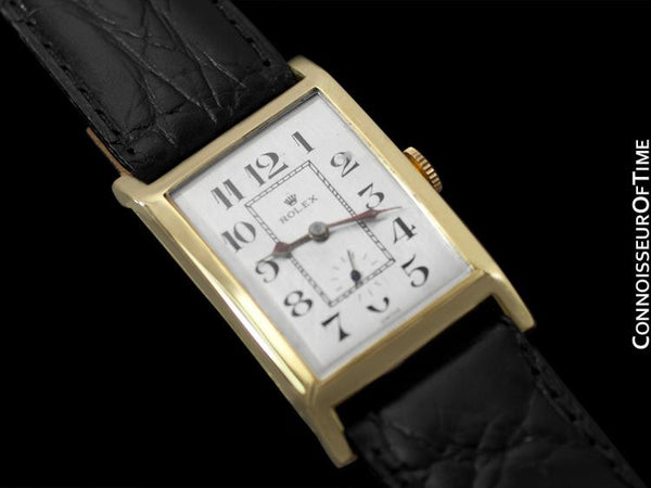 1933 Rolex Art Deco Vintage Mens Full Size Rectangular Watch - 14K Gold