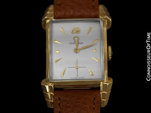 1950 Omega Vintage Mens Midsize Watch, 14K Gold - Exquisite Case