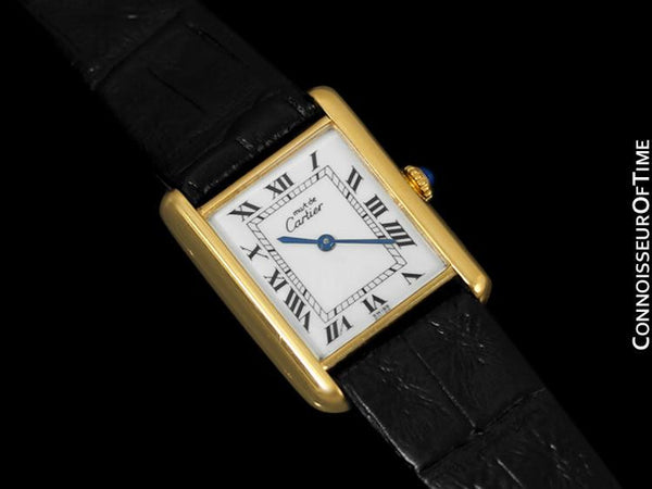 Cartier Vintage Mens Tank Watch - Gold Vermeil, 18K Gold over Sterling Silver