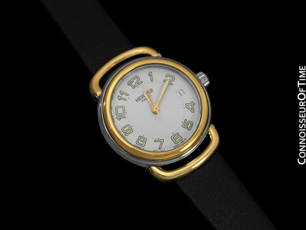 Hermes Pullman Ladies White Dial Watch with Date - 18K Gold Plated & Stainless Steel