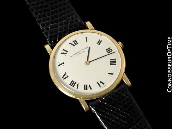 "1950's Audemars Piguet ""Extra-Flat"" Vintage Mens Midsize Watch - 18K Gold"