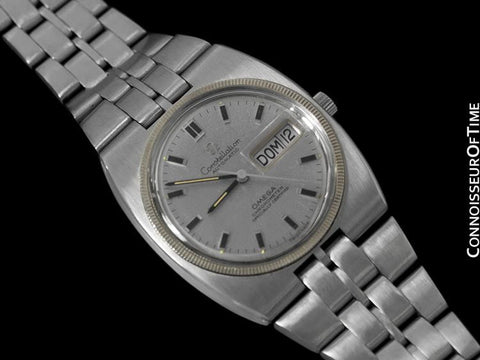 1970 Omega Constellation Vintage Mens Calendar Day Date Watch - Stainless Steel & 18K White Gold