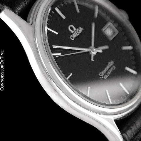 1984 Omega Seamaster Brest Vintage Mens Quartz Watch, Quick-Setting Date - Stainless Steel