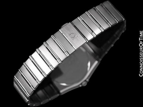 Omega Constellation 35mm Mens Bracelet Watch, Quartz, Date, Black Dial - Brushed Stainless Steel
