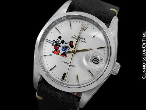 1977 Rolex Vintage Mens Oysterdate Date Watch with Mickey & Minnie Mouse Dial - Stainless Steel