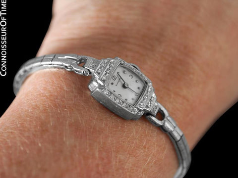 1960's Blancpain Vintage Ladies Classic Cocktail Watch - 14K White Gold & Diamonds