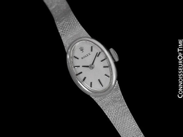 1970's Rolex Vintage Ladies Pre-Cellini Bracelet Dress Watch - 14K White Gold